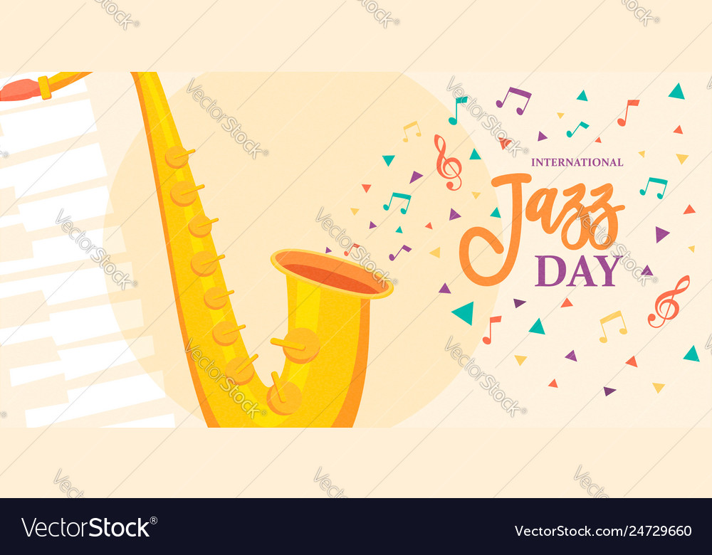 Jazz day card of saxophone music instrument