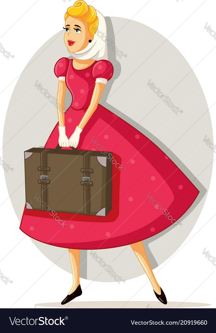 Retro travel girl cartoon