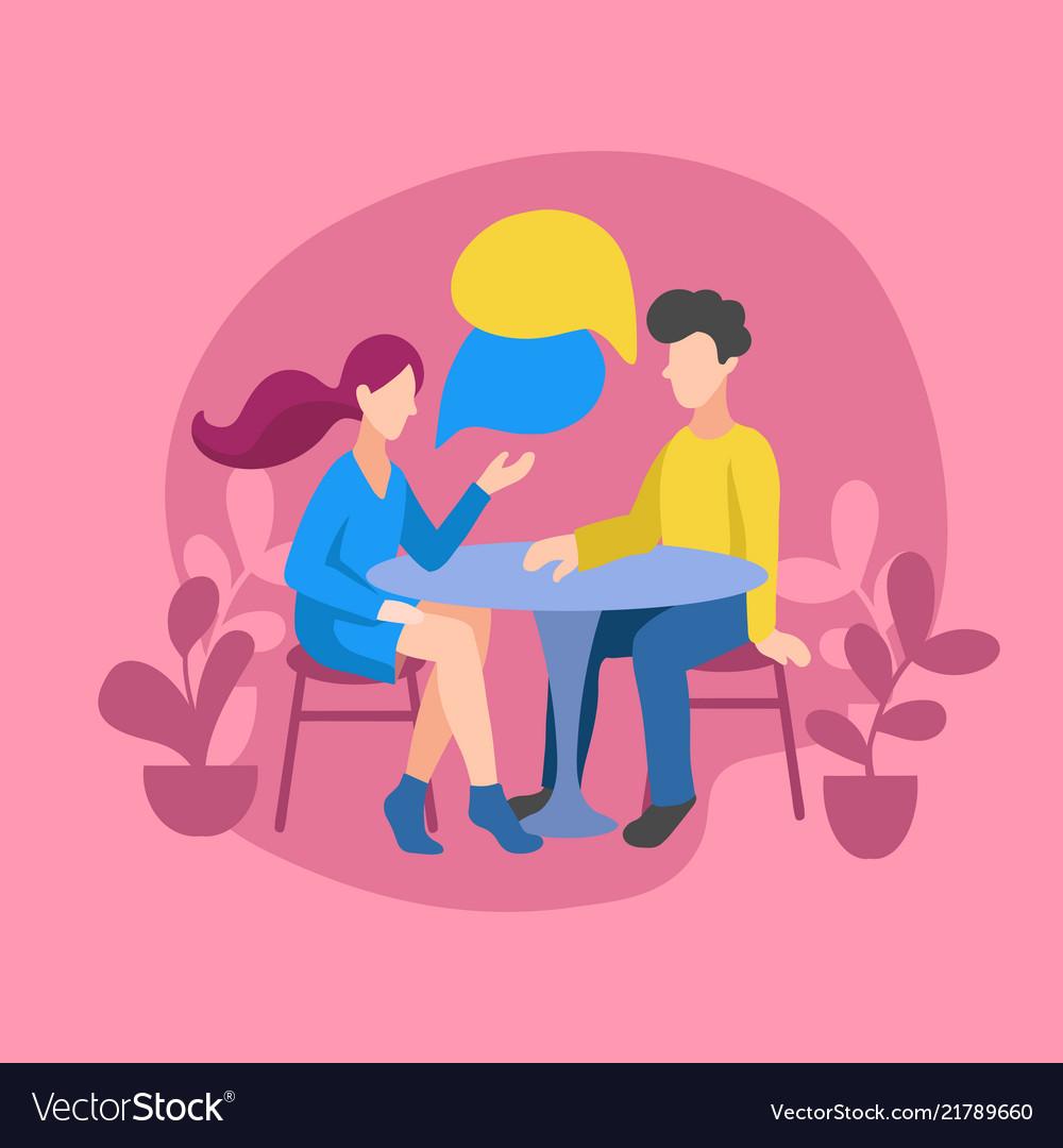 Romantic couple chatting