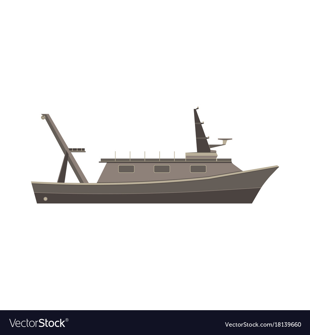 Ship boat flat design vessel sea yacht isolated vector image