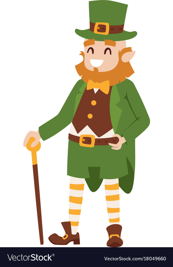 st patricks day leprechaun man character cartoon vector image