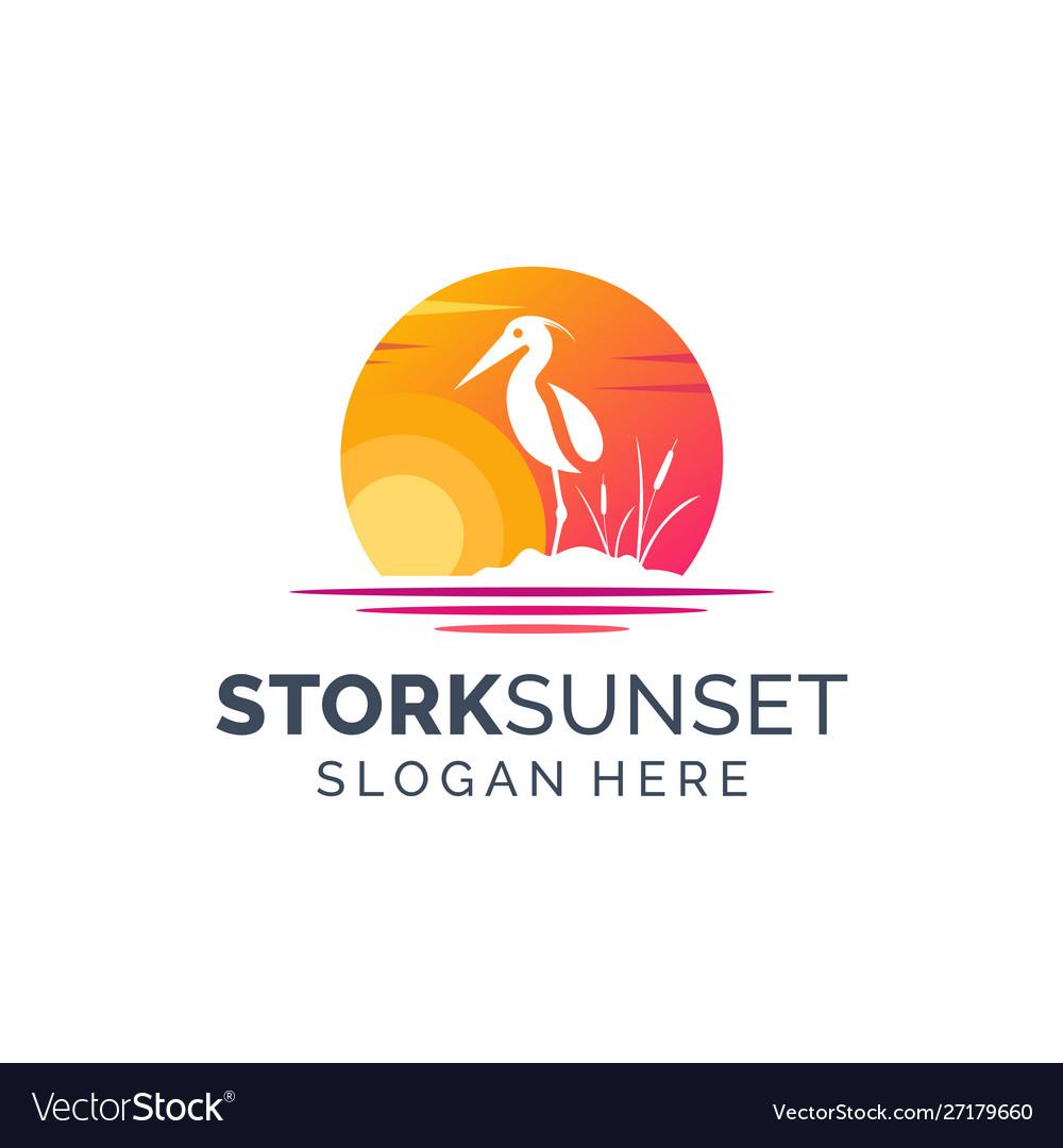 Stork sunset logo