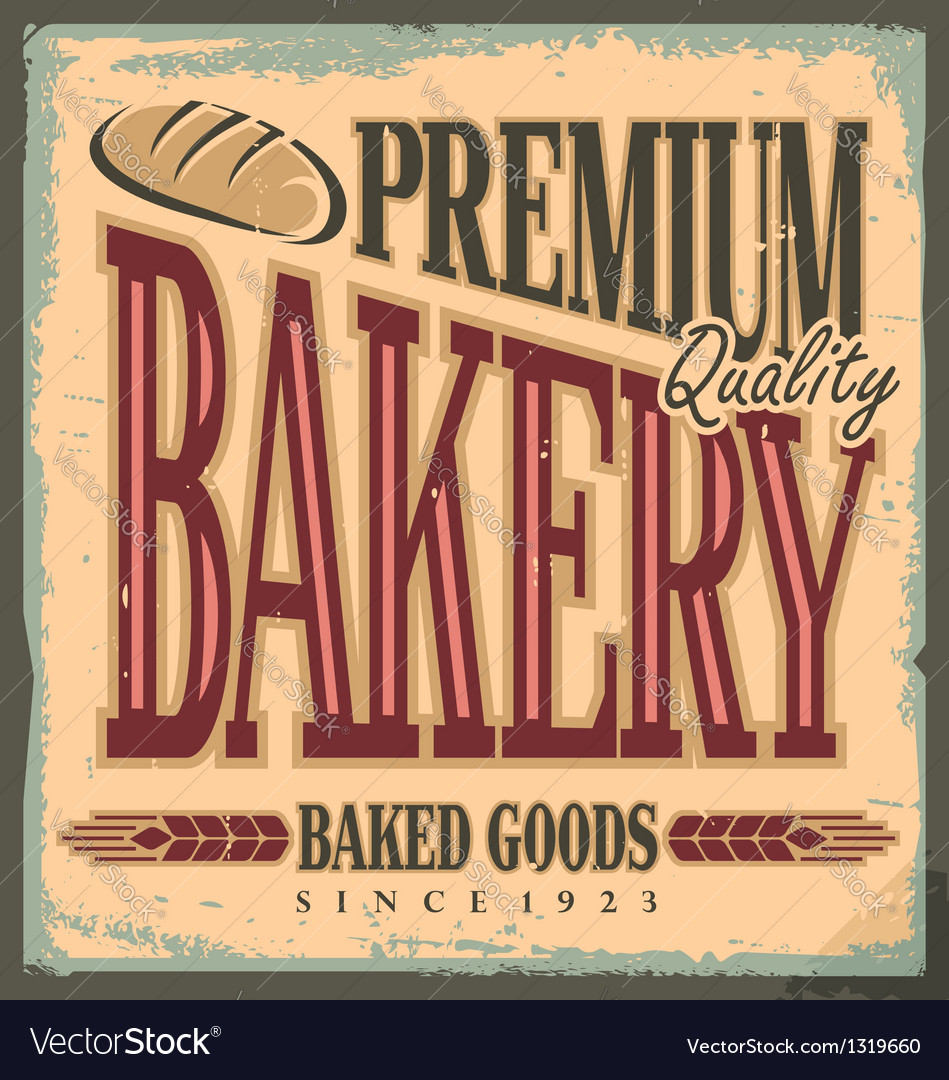 Vintage bakery sign vector image