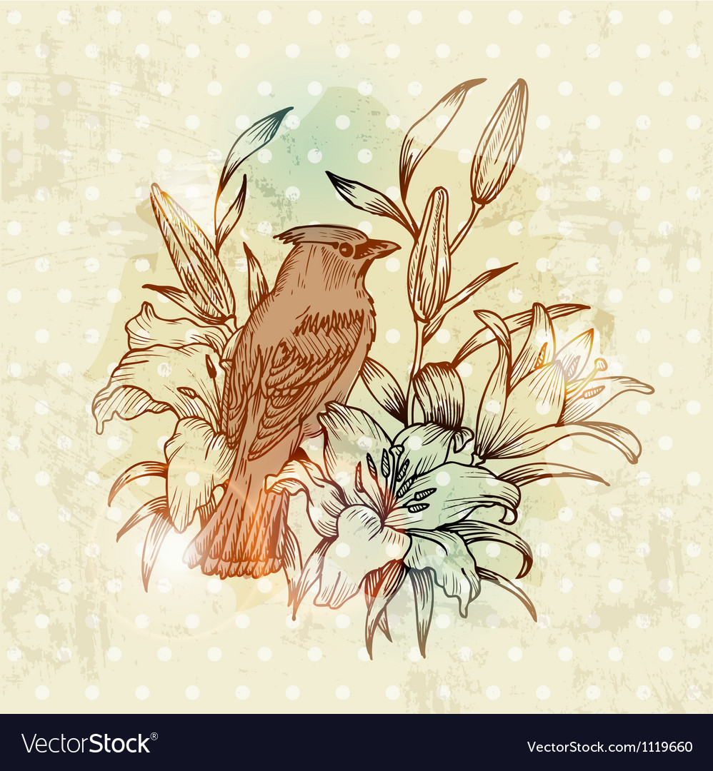Vintage Spring Card with Bird and Flowers