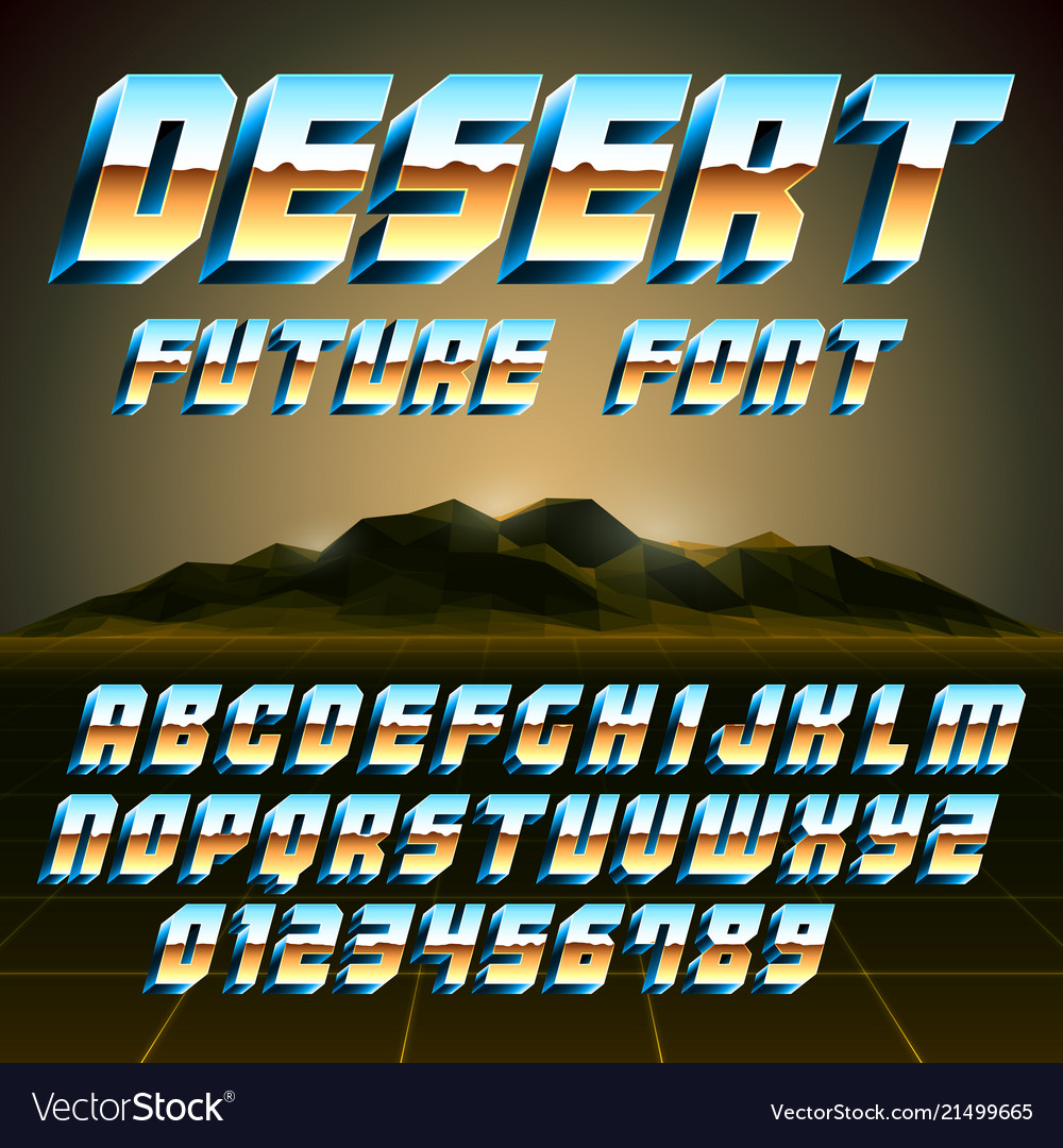 80s desert alphabet and numbers