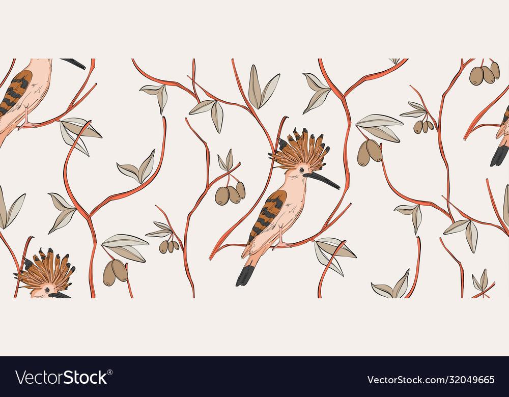 Bird pattern light seamless floral botanical