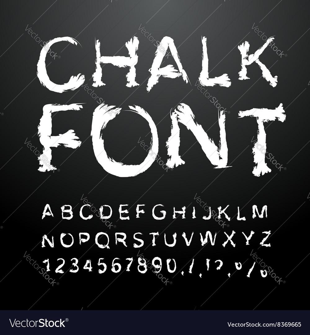 Chalk font Alphabet written in white chalk Letters
