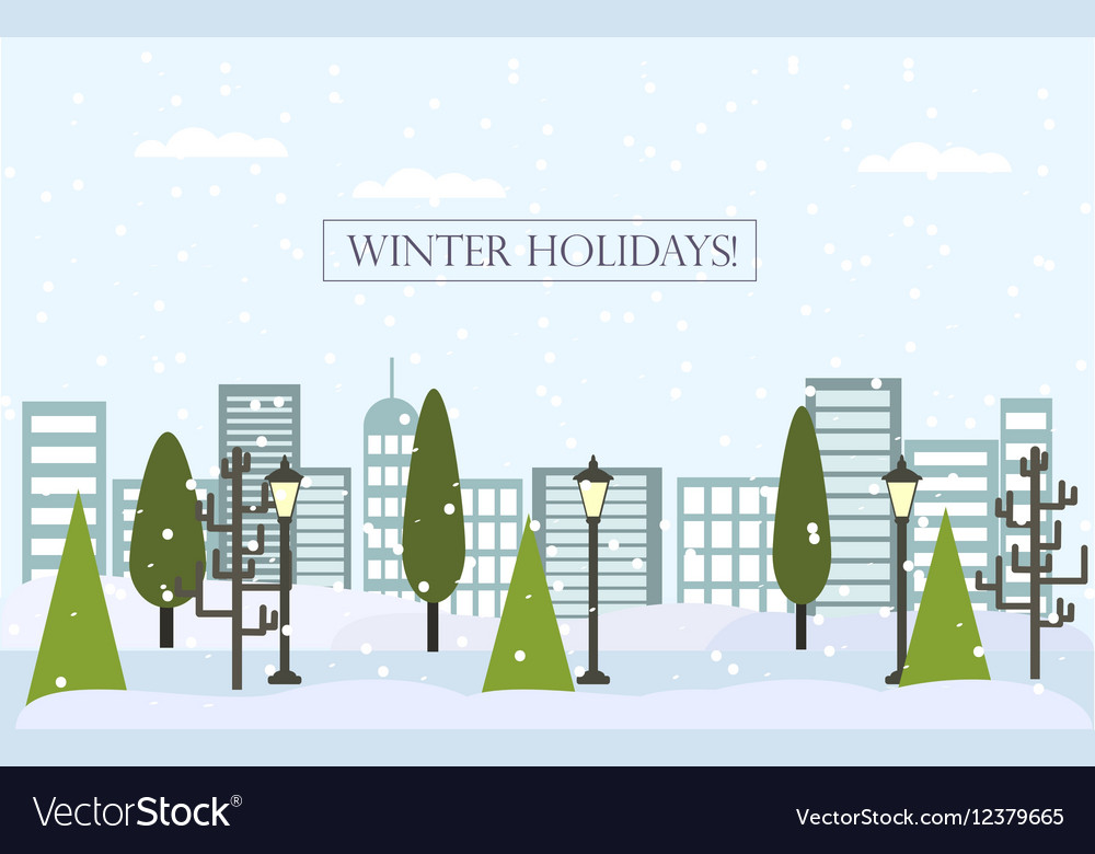 Chrismas winter flat landscape background New
