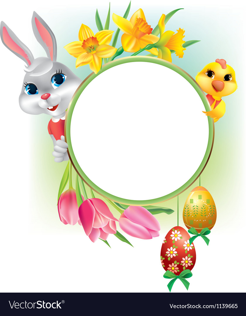 Easter round frame Royalty Free Vector Image - VectorStock