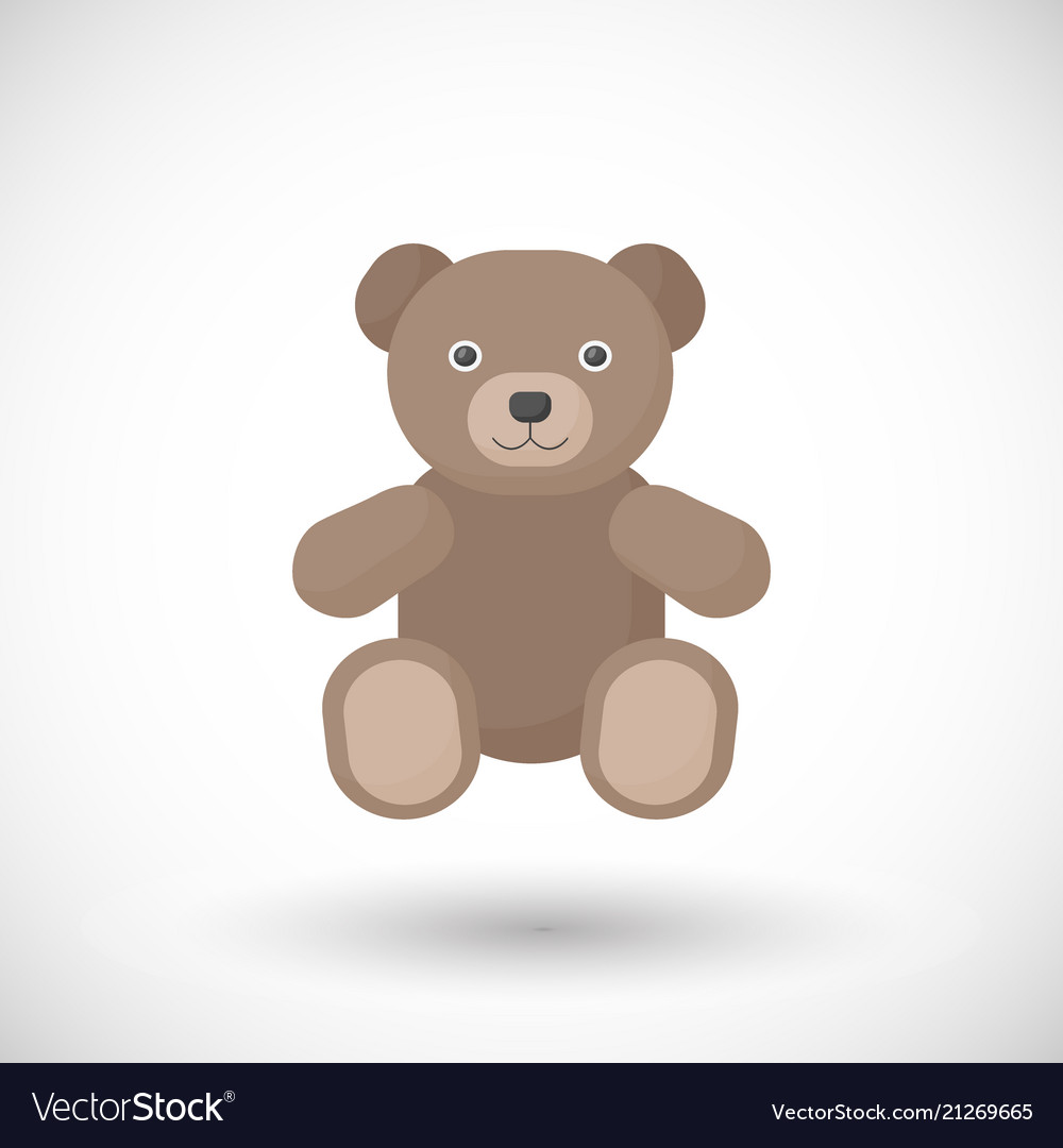 flat icon of teddy bear toy royalty free vector image