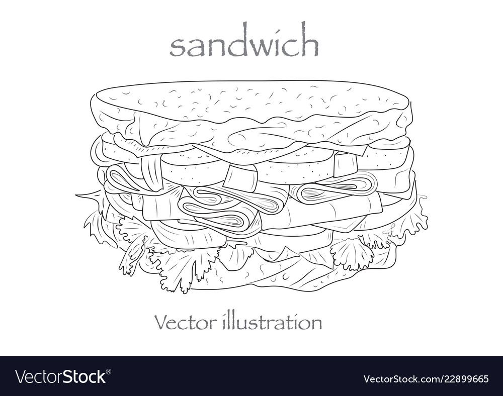 Hand drawn sketch steak sub sandwich black