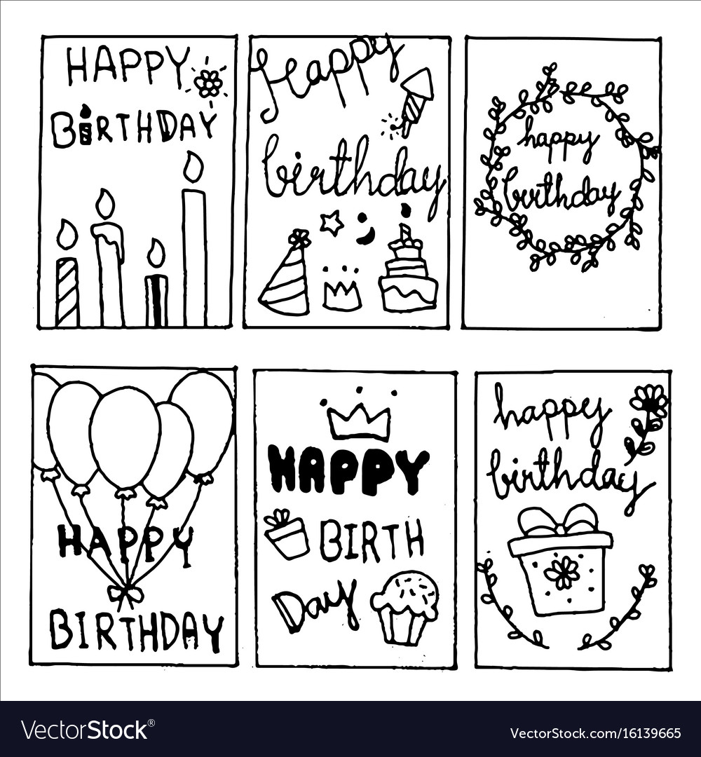 Happy birthday party cards set lettering text