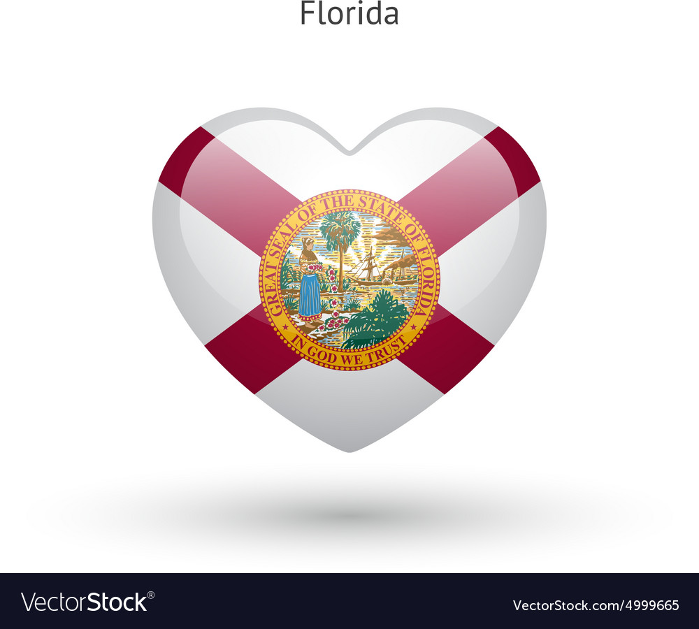 Love Florida state symbol Heart flag icon