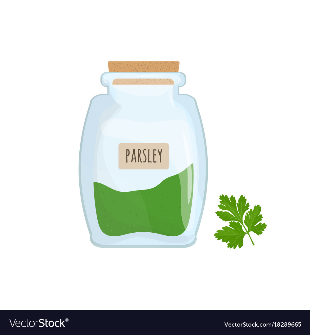 Minced and dried parsley stored in glass jar