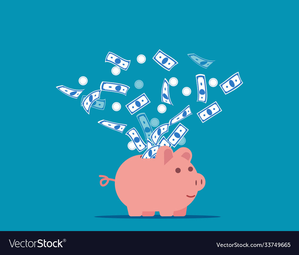 Piggy bank expelling money into air
