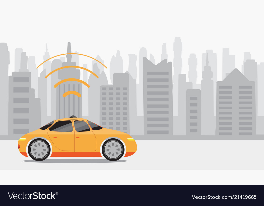 Robotic self-driving cars on city background