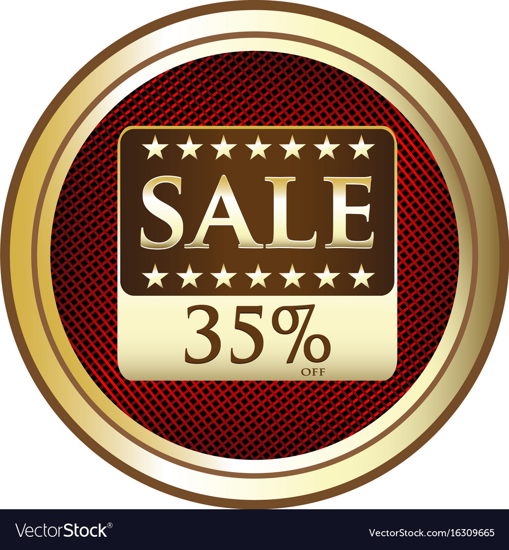 Thirty five percent sale icon vector image