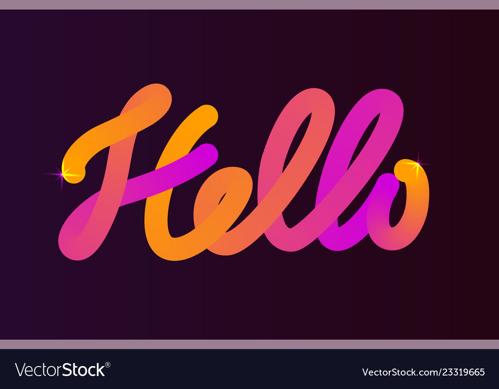 Word hello color blended calligraphic hand