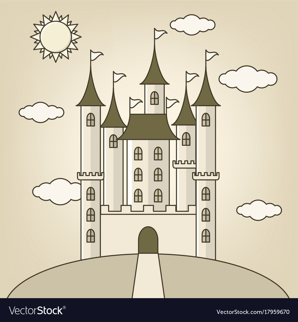 Castle of princess with clouds and sun