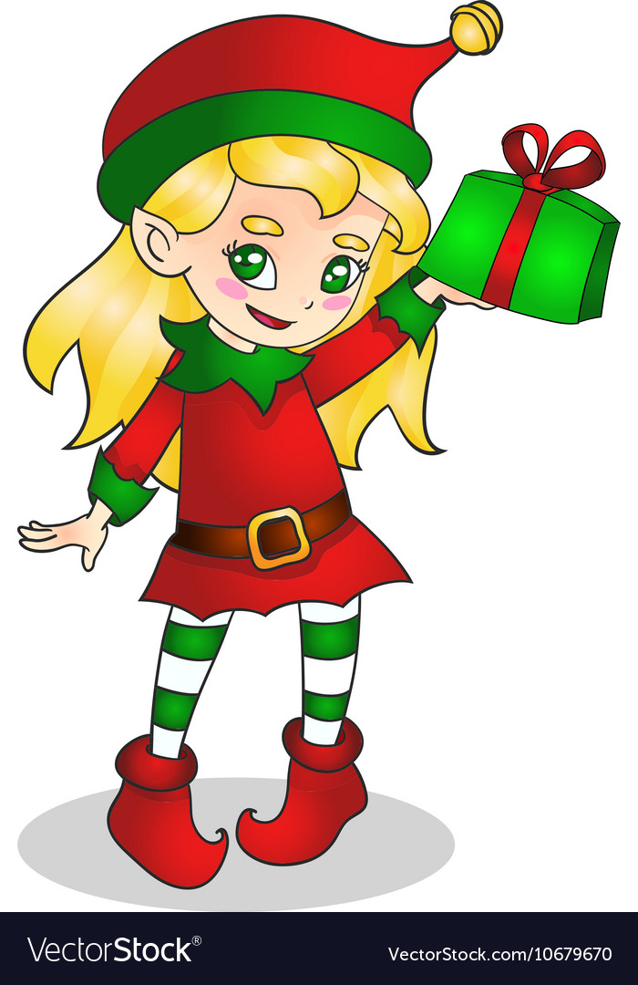 Christmas elf girl character with present vector image