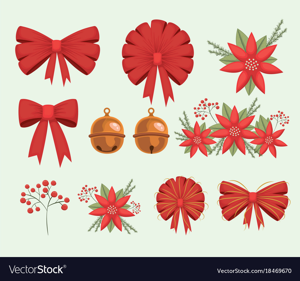christmas set decorative ribbons bows and vector image