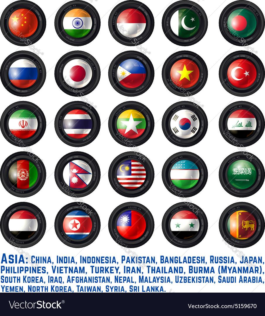FlagsAsiaOne vector image