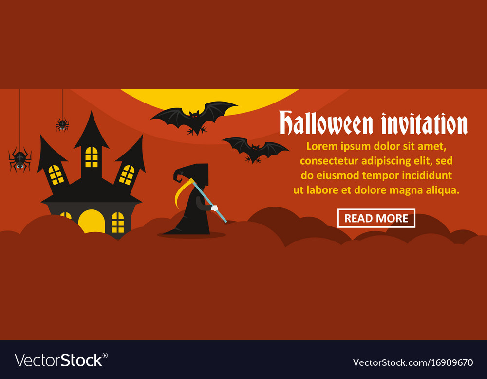 Halloween invitation banner horizontal concept