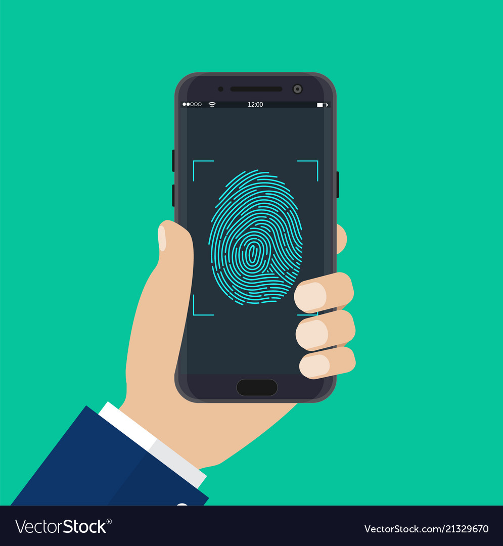 Hand with mobile phone unlocked