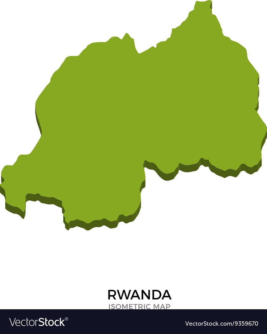 Isometric map of Rwanda detailed vector image