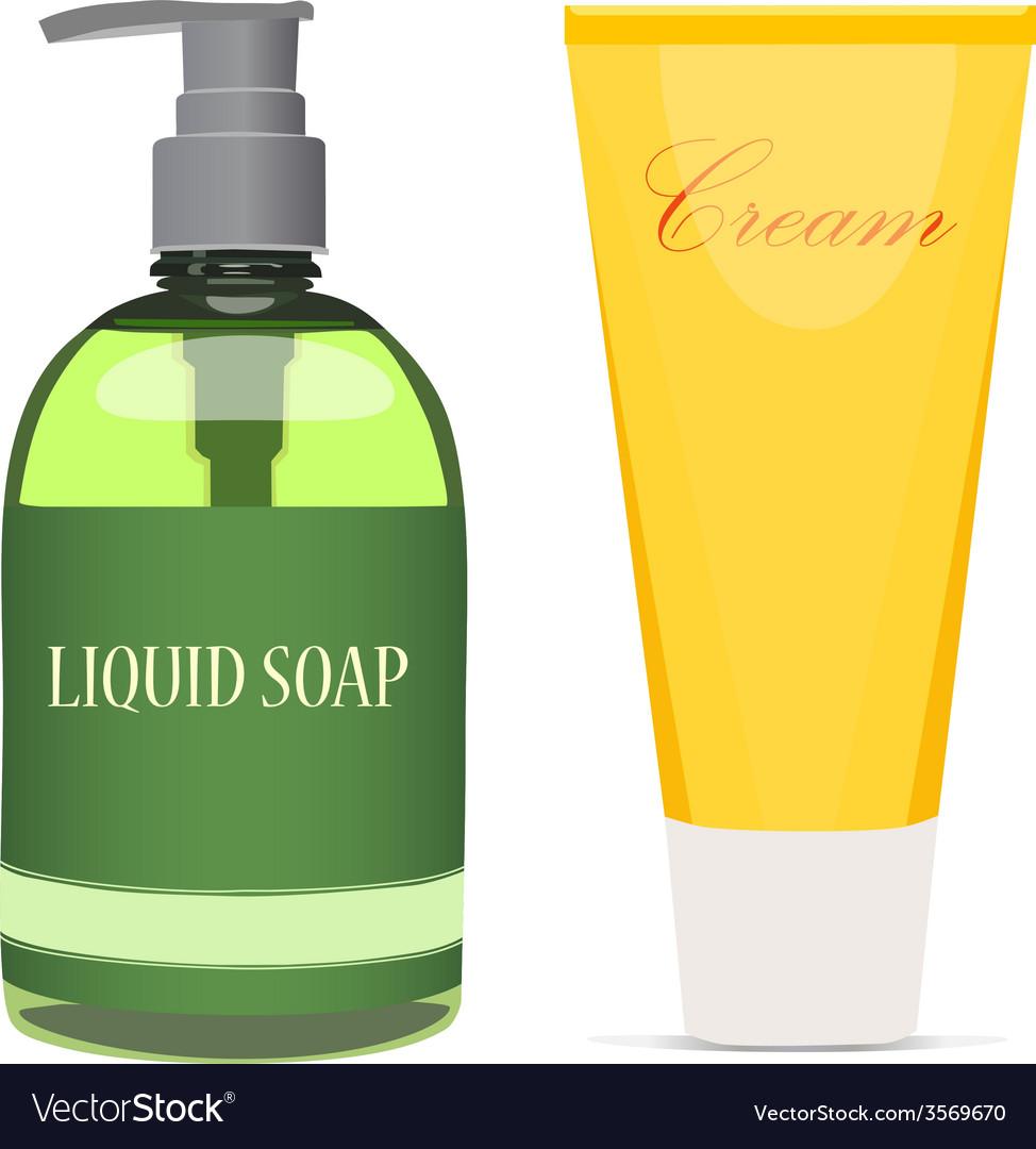Liquid soap bottle and cream tube