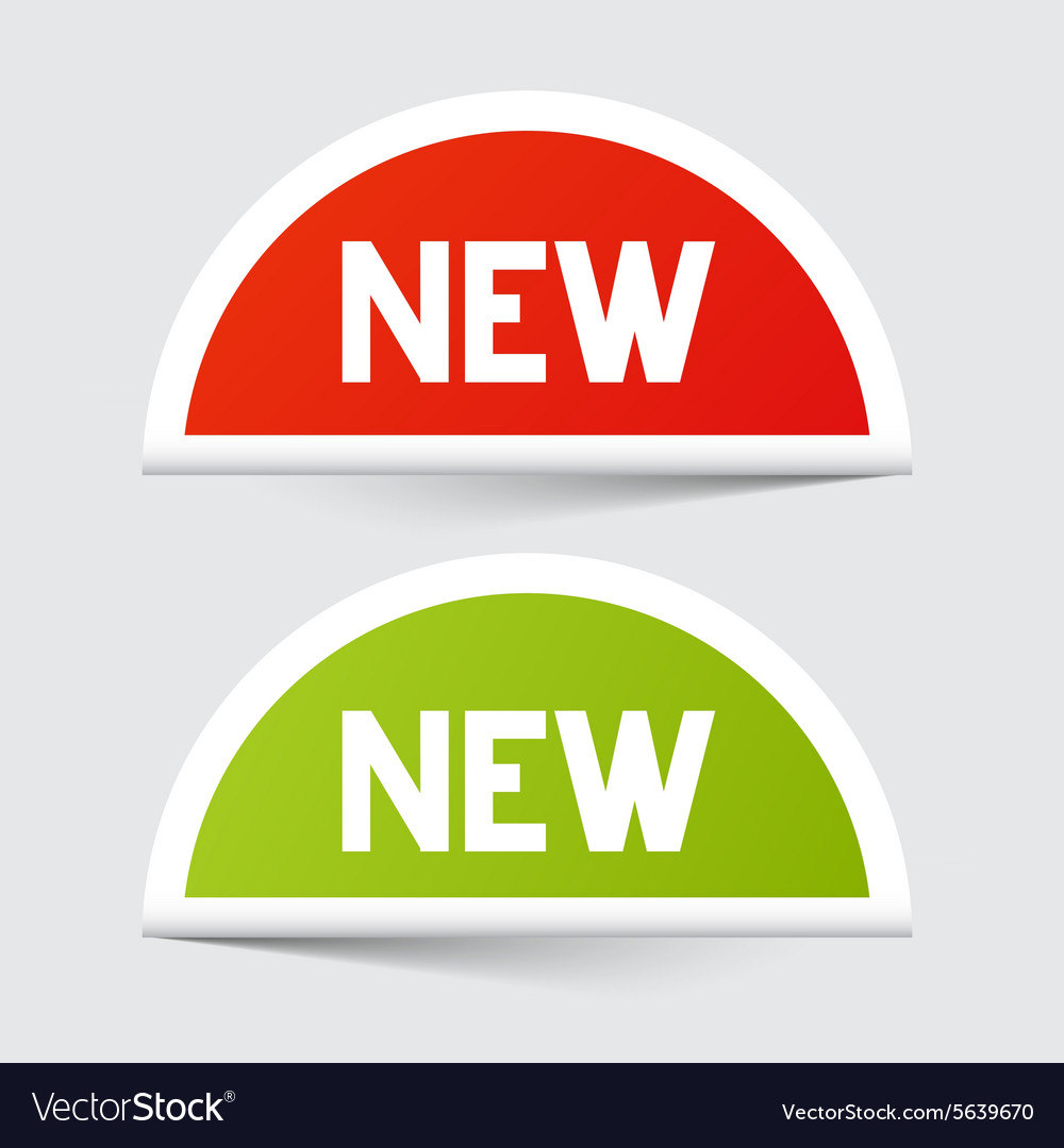 New Red and Green Paper Stickers vector image