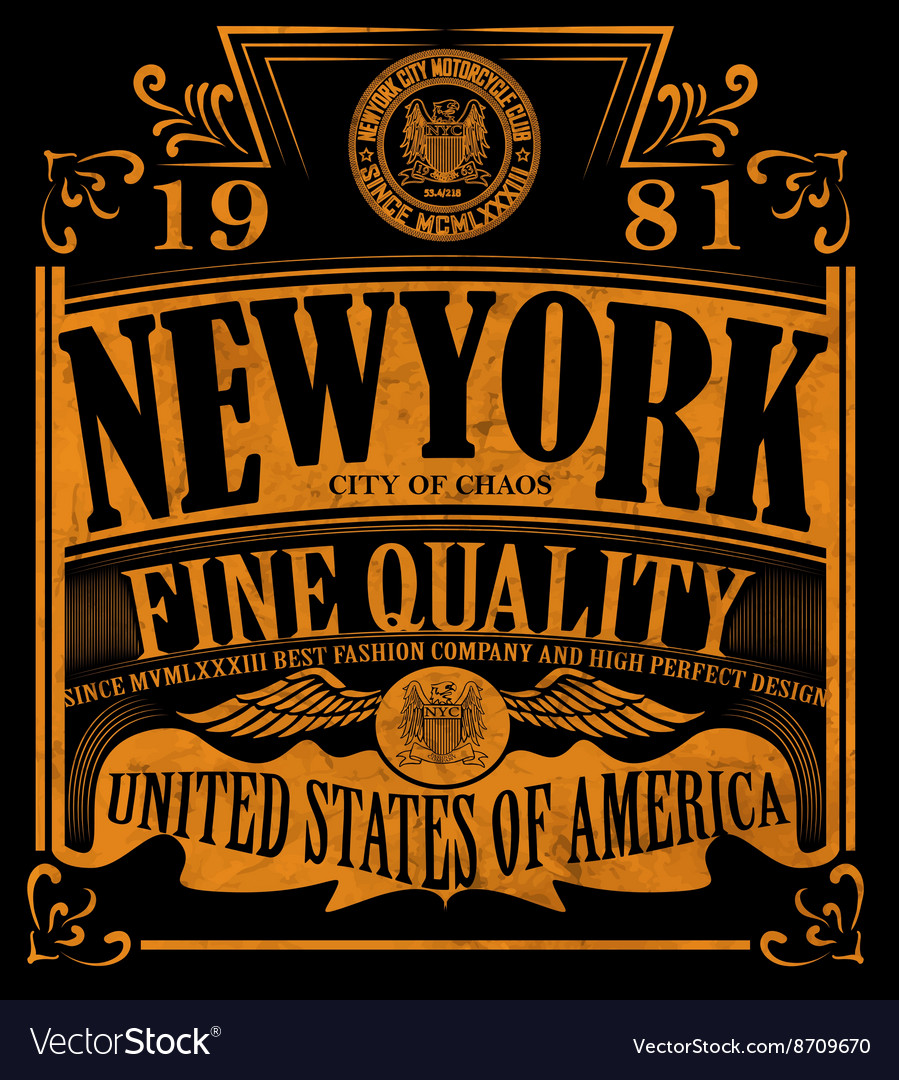 New york Vintage Slogan Man T shirt Graphic Design
