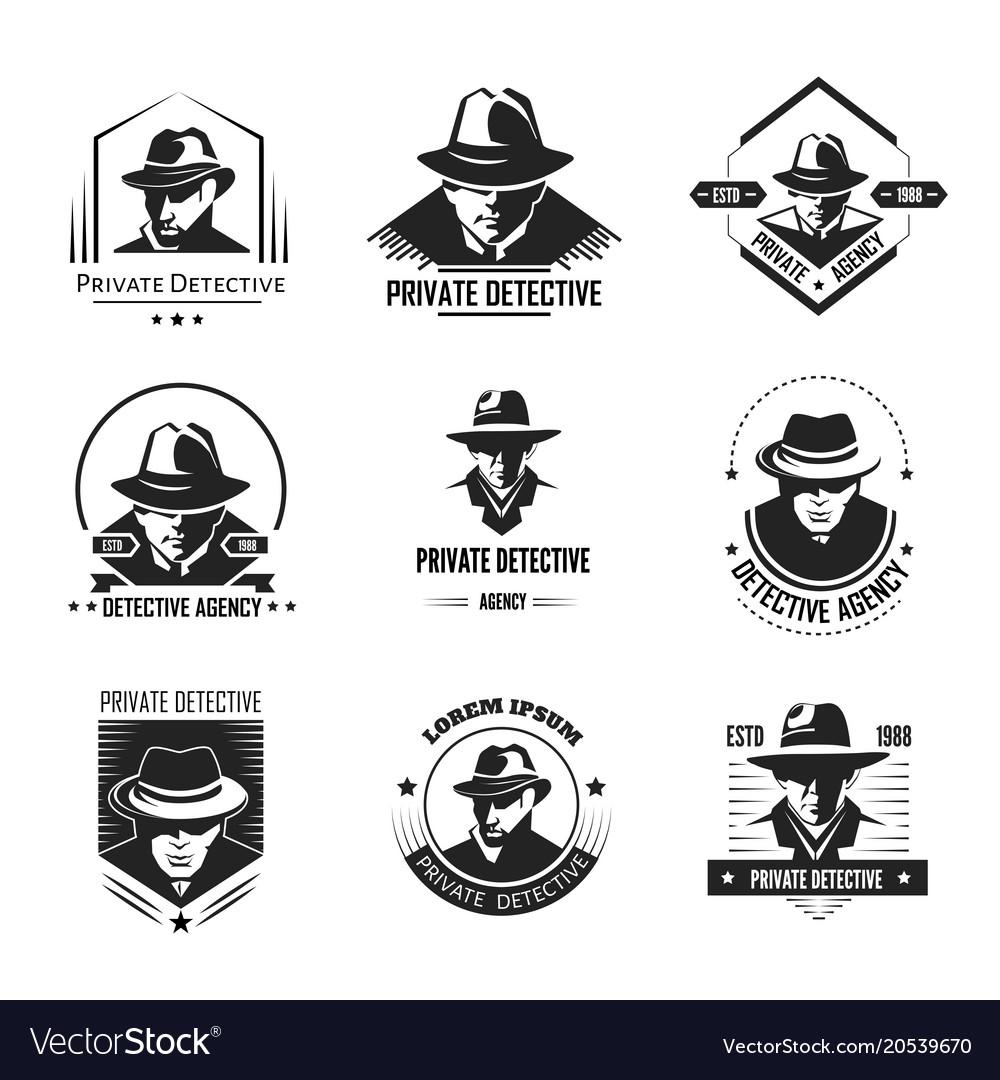 Private detective promotional monochrome emblems