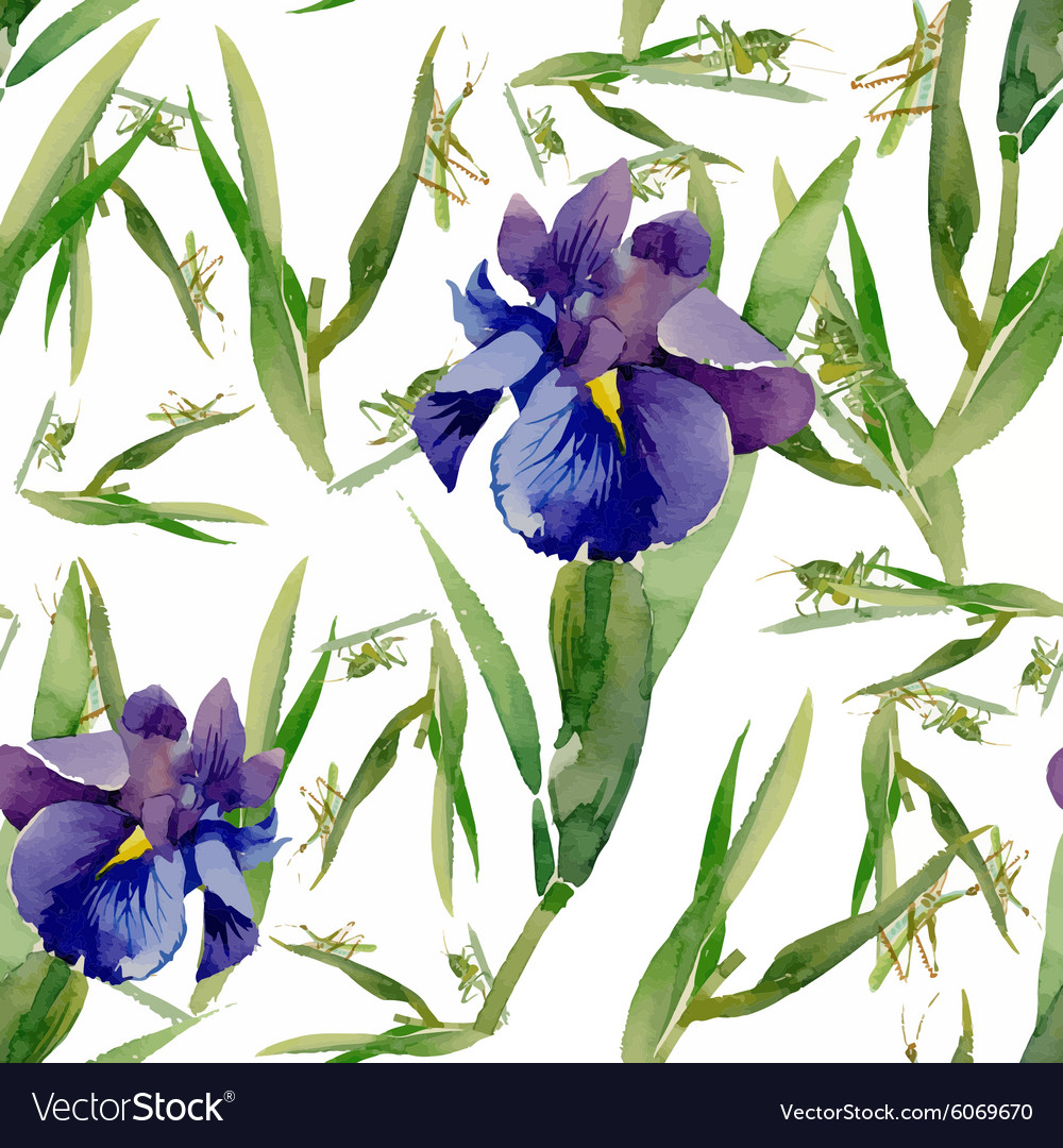 Seamless pattern with watercolor irises