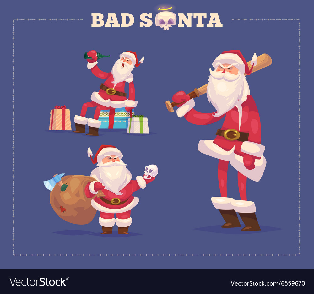 Set bad santa christmas greeting card