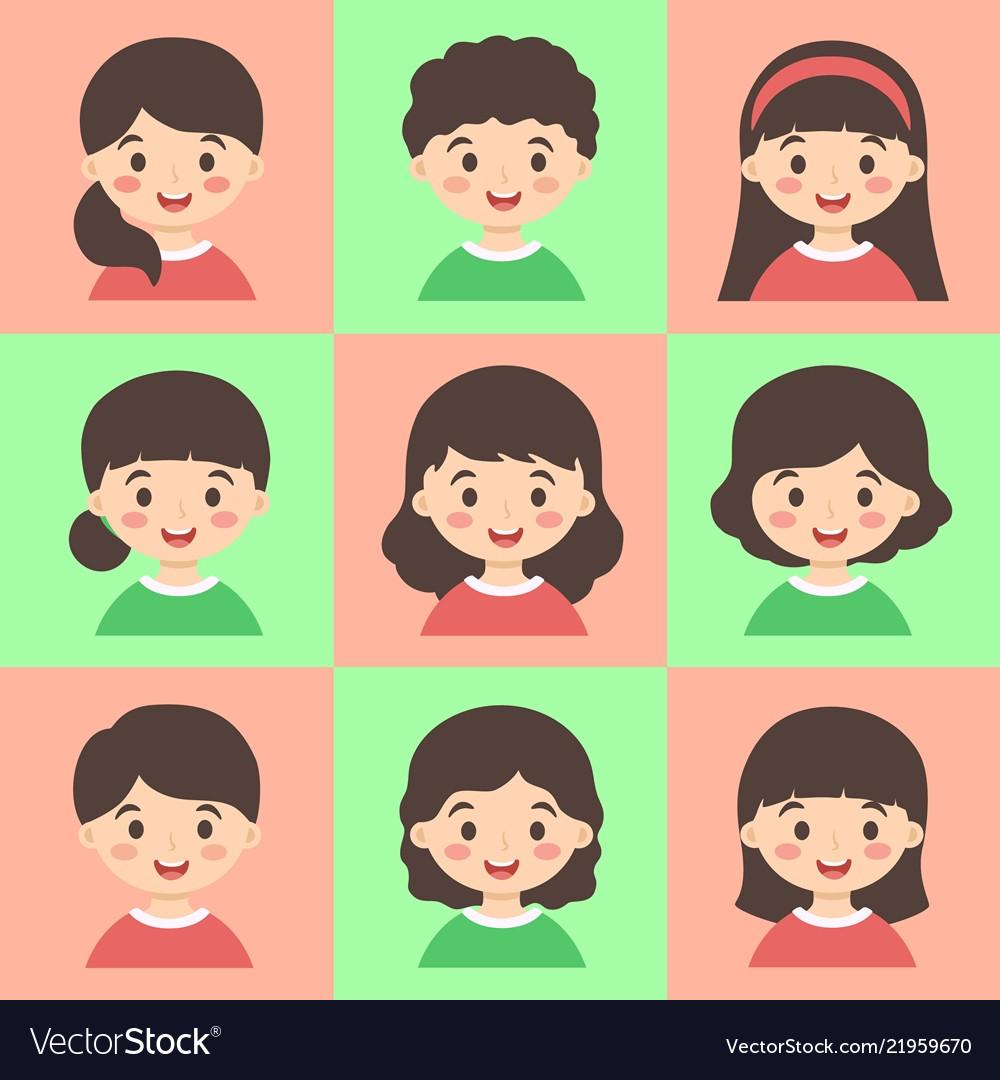Set of cute kids face avatar red green