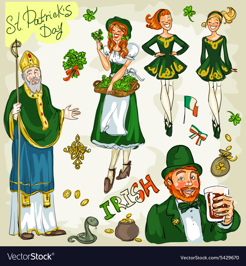 St Patricks Day - hand drawn clip art collection