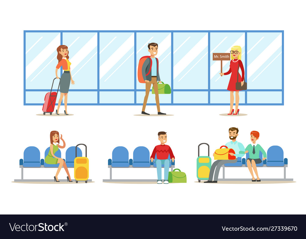 Travelling people in airport set passengers
