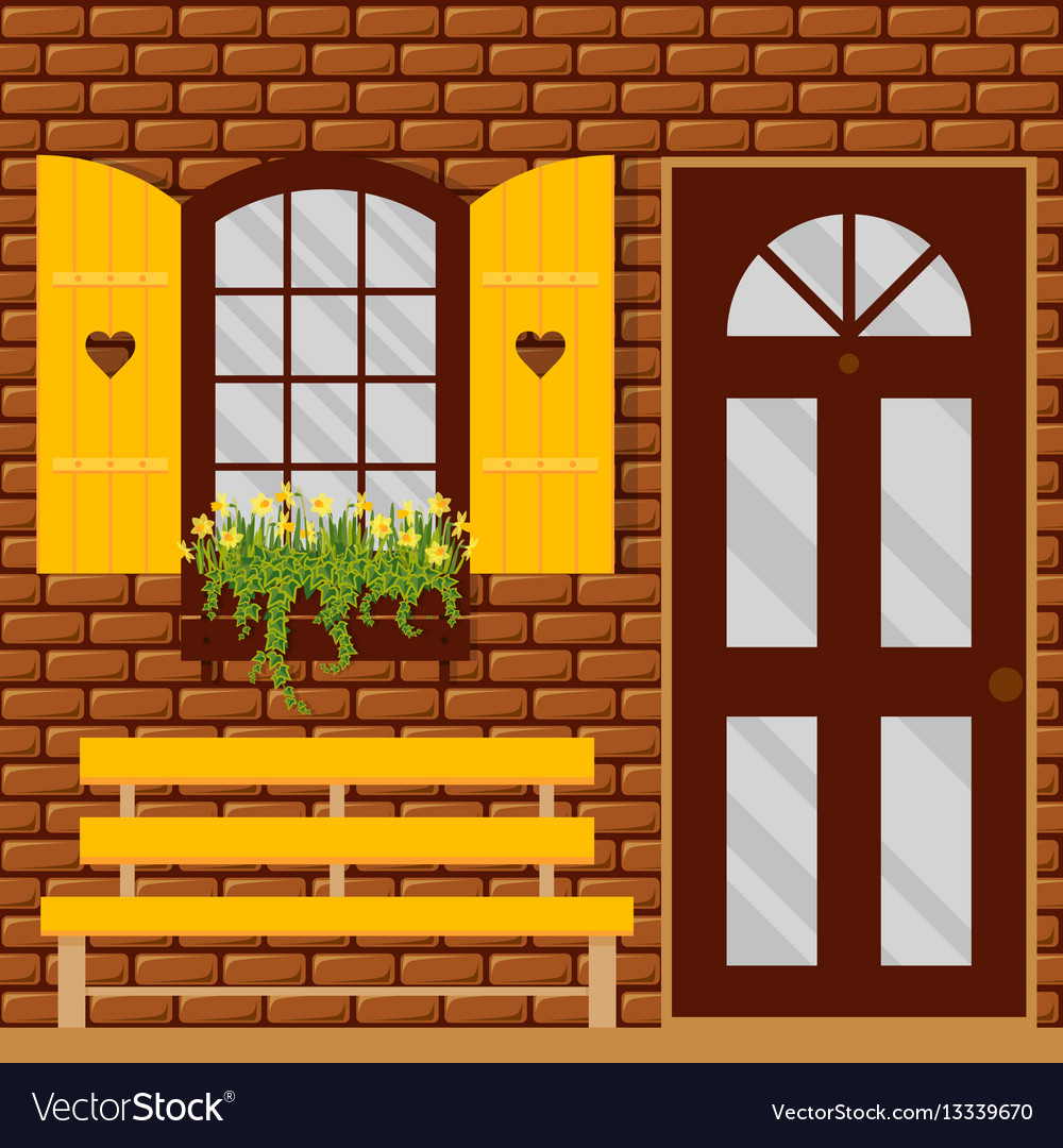 Window and shutters vector image