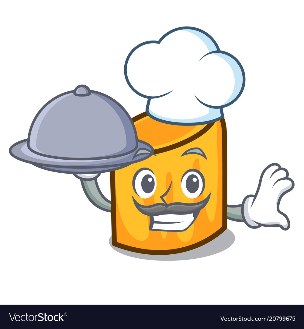 Chef with food rigatoni mascot cartoon style