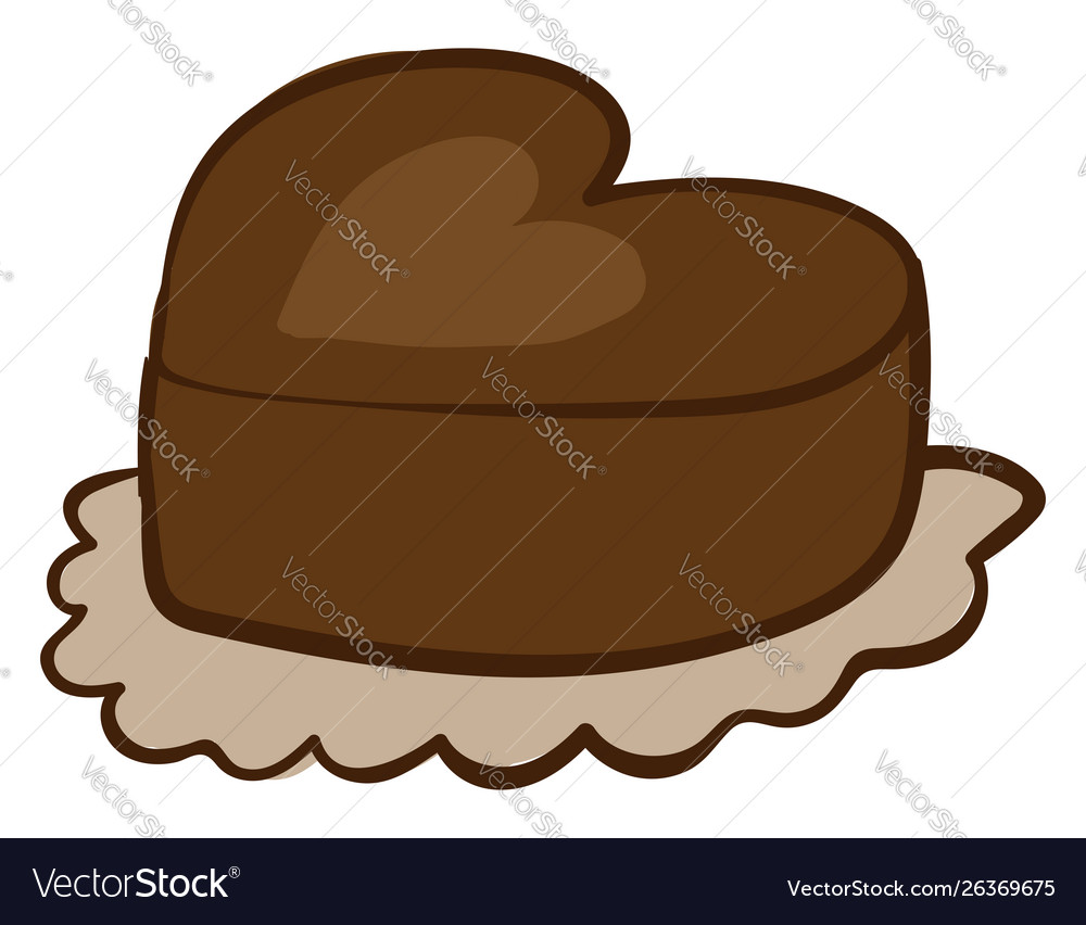 Chocolate heart cake on white background