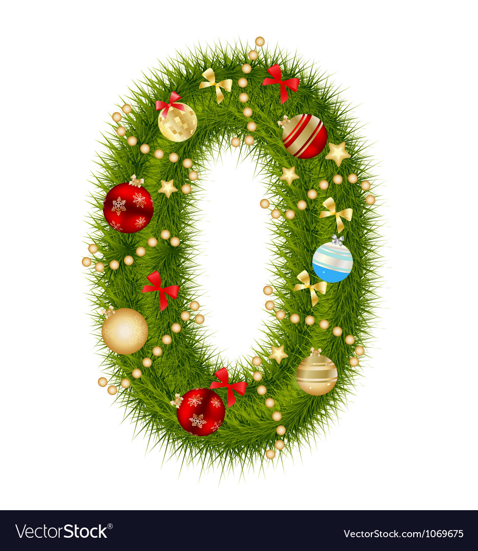 Christmas Alphabet.Christmas Alphabet Number Vector Image
