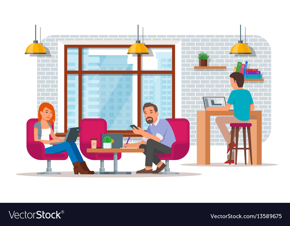 Coworking center concept flat