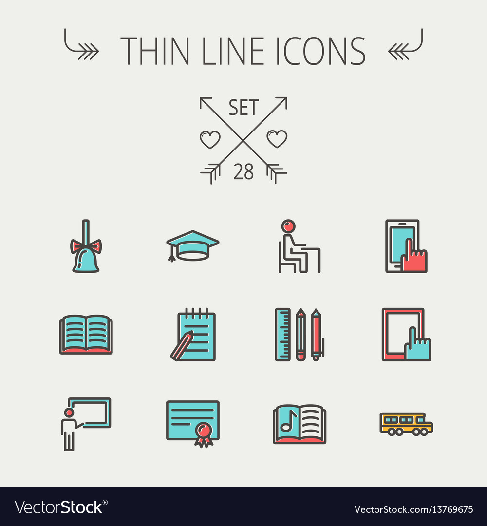 Education thin line icon set