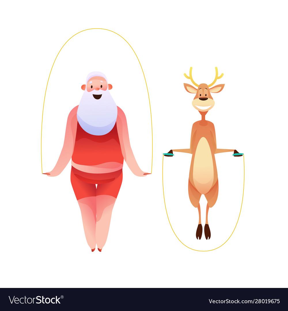 Funny santa and reindeer doing sport