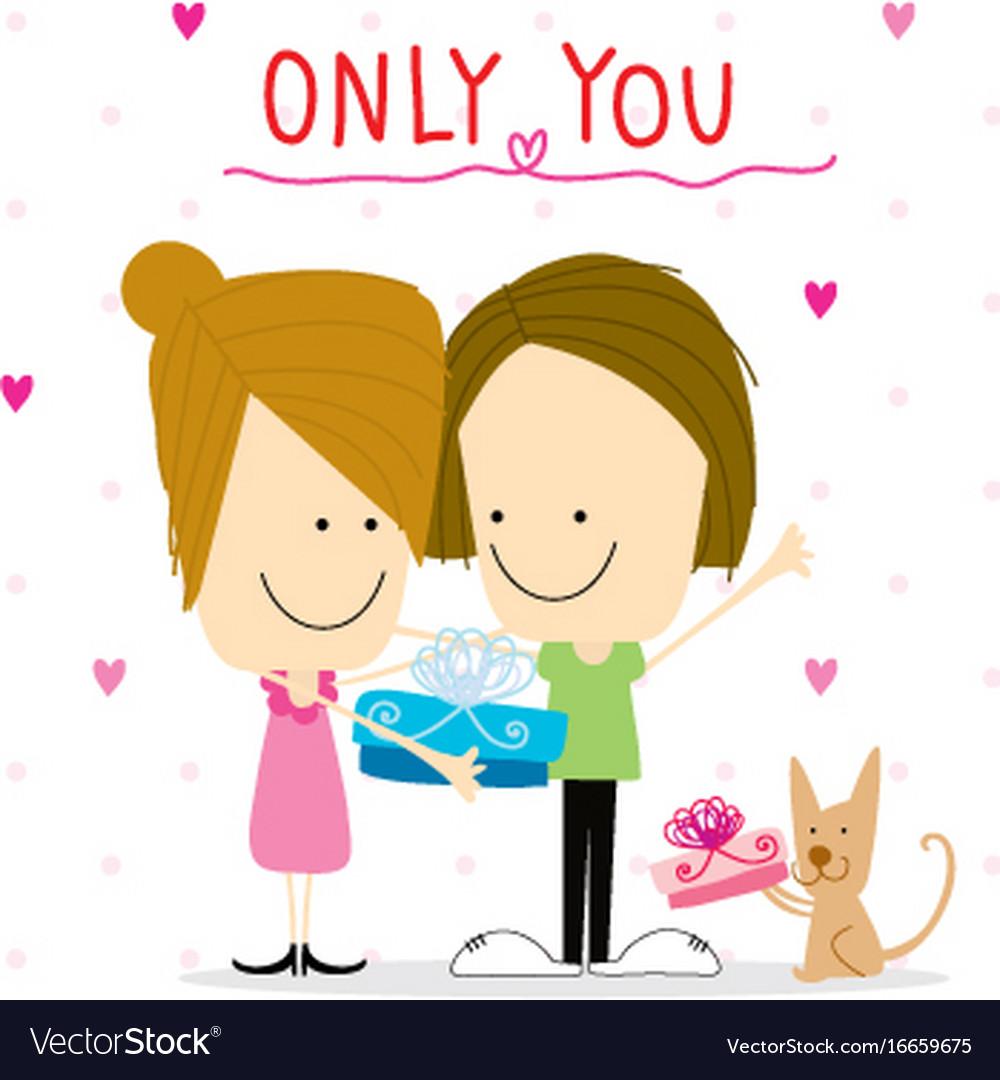 Girl and boy cartoon cute happy birthday vector image m4hsunfo