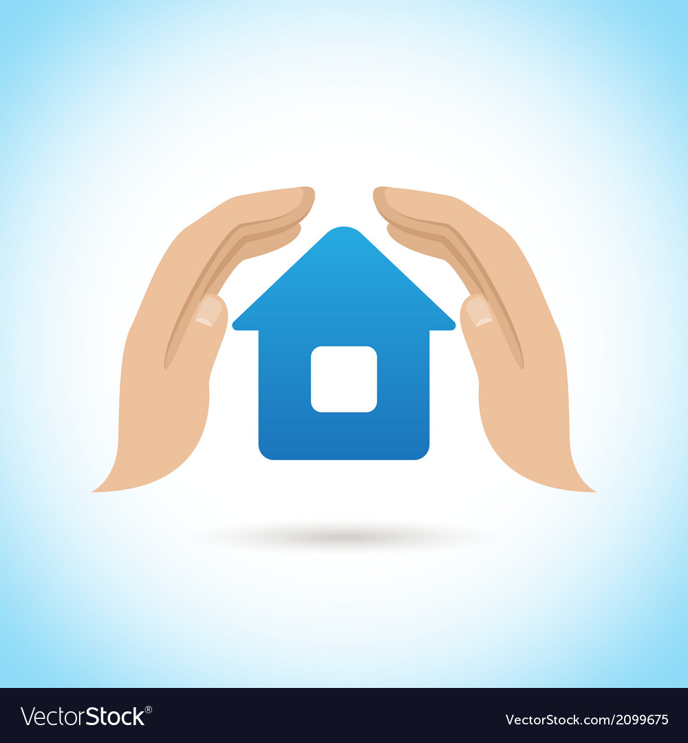 Hands hold home poster vector image