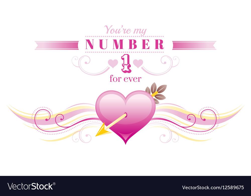 Happy Valentines day border Cupid arrow pink