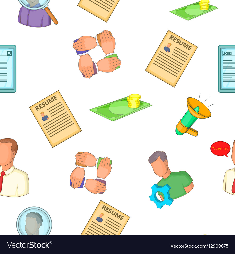 Job Search Pattern Cartoon Style Royalty Free Vector Image