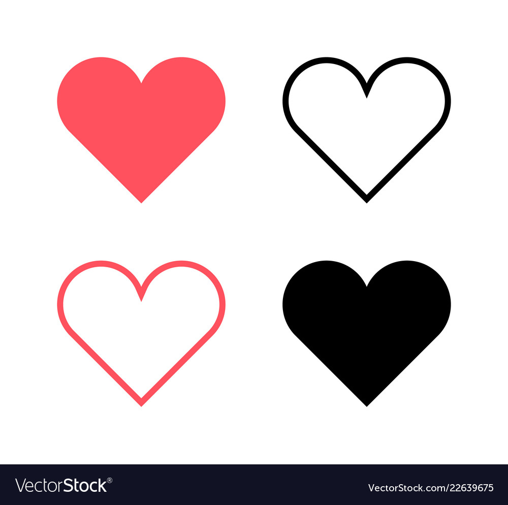 Red hearts and black hearts flat icons2